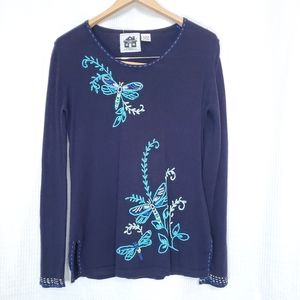 Storybook Knits Dragonfly Embroidered Sweater